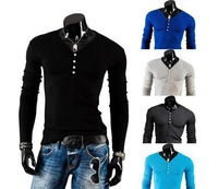 2014 New  Fashion Autumn Casual V-Neck Men Solid Long Sleeve Slim Fit Bottoming T Shirts 5Colors ,M-XXL Free Ship