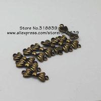 Wholesale (50 pieces/lot) 8*22mm Antique Bronze Metal Alloy Mini Bowknot Connectors Jewelry Charm 7615