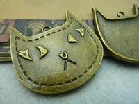 5pcs/lot 39*39mm antique bronze plated cat charms