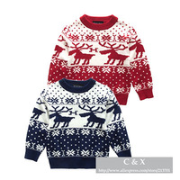New 2014 Children Sweater England Style Brand Baby Boys Girls Double Layer Deer Pattern O-neck Knitted Sweater Kids Knitwear