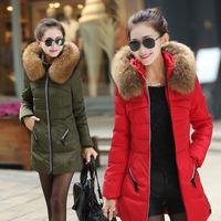 New 2014 Jacket Winter Coat Thicken Slim Female Raccoon Fur Collar And Long Coat Women Parka Winter Coat Plus Size 5 Colors Q185