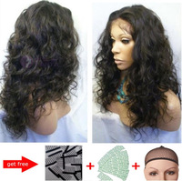 100% Malaysia Curly Brazilian  Hu-woman Hair Lace Front Wig/full lace wig Natural color density 130%