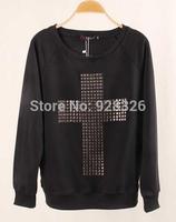 New 2014 Fashion Winter Women Sweatshirt Sweater Personalized Metal Diamond Cross Large size Pullovers black and white