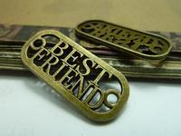 20pcs/lot 16*36mm antique bronze plated best friend connect charms