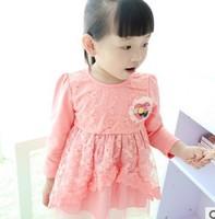 baby & kids new 2014 autumn winter long sleeve lace princess party dress children girls pink cotton cute dress wholesale clothes