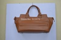Genuine Leather Ladies' High Quality Zipper Top Brown Hangbag