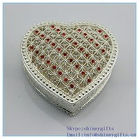 Decorative Heart Shaped Trinket Box silver with Crystals for Sale