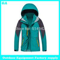 Dropshipping 2014 Brand Fashion 2in1 Two-Piece Jacket Climbing Sports Coat Outdoor Windproof Ski waterproof winter jacket women