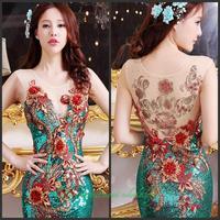 2014 new crystal wedding toast the bride dress vestido de noite free shipping d4g6h7