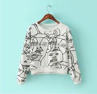 new fashion 2014 autumn winter european style women cotton cropped sweatshirt women white long sleeve funny print loose pullover
