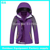 Dropshipping 2014 New arrival Fashion double layer hiking ski jacket waterproof windproof Casual winter women coat jacket