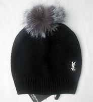 Fox fur big bubble pompom women's wool knitted brand name metal hats wool caps big balls free shipping
