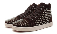 Wholesales 100% Genuine Leather Men Shoes With Rivets High Top Men Fahsion Sneakers