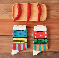 Novelty Geometry Pattern Patchwork Socks Women's 100% Cotton Socks Couple Socks SS1