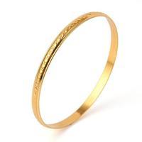 Unisex 18k Plain Yellow Gold Filled GF Thin 5MM Wedding Bangle Bracelet DIA.65MM Free Shipping