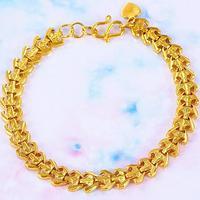 "7.48"" Unique Thick 24k Yellow Gold Filled GF Cufflinks Chain Bracelet Women Men"