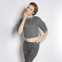 New 2Pcs/Set Female 2014 Winter pant suits Black TrackSuits for Women Polka Dot Fashion Casual Office Clothes Workwear