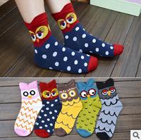 Kawaii Colorful Owl Socks Women's 100% Cotton Socks XX1
