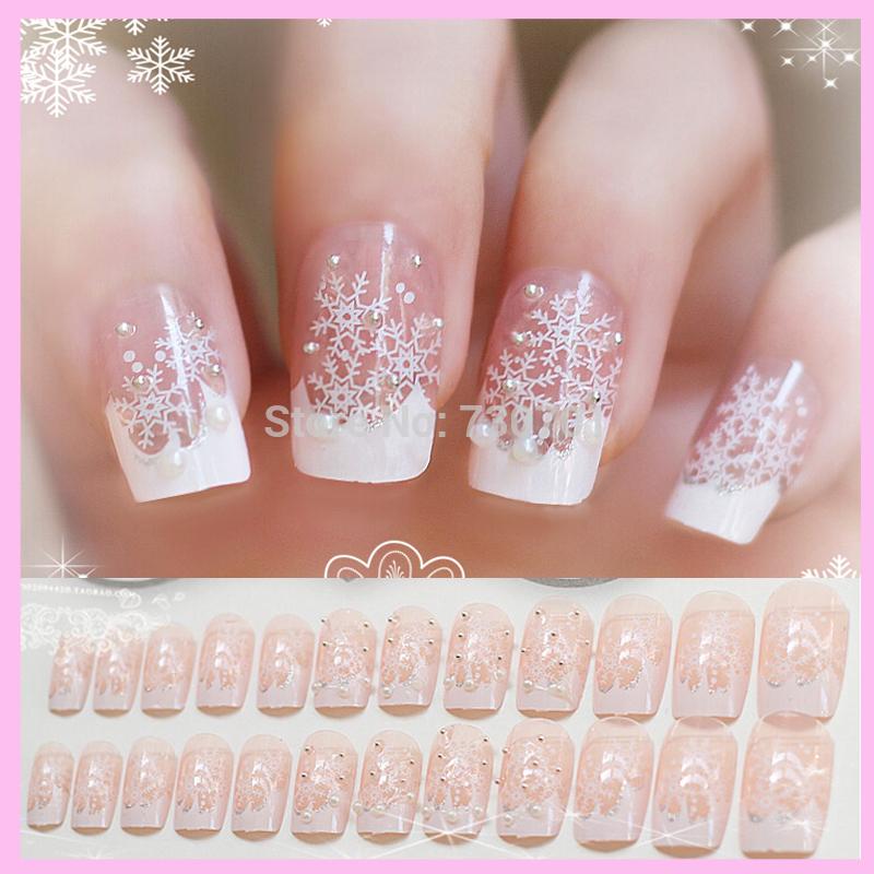 3D False Nails Art Transparent Snowflake Bottom Surface Small Pearl Decoration Wedding Styling Tools Artificial Fingernail 24pcs(China (Mainland))