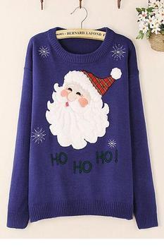 Пуловер 2014 осень теплый королевский синий дед мороз рождество зима свитер LC27526 с длинными рукавами кардиганы