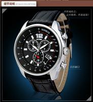 Skmei Brand Men Genuine Leather Strap Waterproof 30m Japan Quartz Watches Casual Calendar Relogios Analog Wristwatch 6852