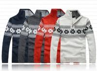 Free shipping Winter men's casual collar half zip  Slim 100% wool sweater