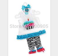Retail Children Clothing Summer Set girls xmas cartoon christmas tops top t shirt shirts + zebra  pants for kids