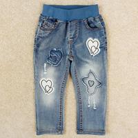 Nova brand new fashion children blue trousers cute stars girl denim pants autumn baby kids long jeans retail distrressed G5145