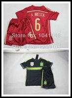 Customize!2014 Spain kids / boy soccer jerseys(shirts+shorts) , Spain 2014 jersey for kids, Embroidery logo
