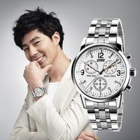 Men Full Steel Watches New Highlight King Temperament Waterproof Quartz Casual Analog Relogio Wristwatches 9070-G