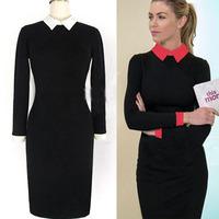 2014 New Women Business Work Sheath Bodycon Vintage Pencil Dress Career Elegant Office Dress Black Red OL peter pan collar dress