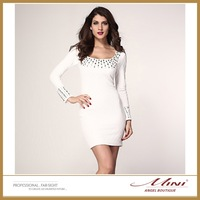 Free Shipping Striking Bodycon Plus Size White Pleated Studded Long Sleeves Women Dress Studded Embellishments Evening Dress