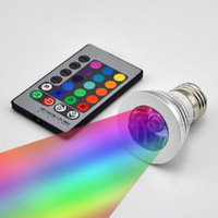 16 colors 100-240V 3W E27 Color Change LED RGB Spotlight Light Bulb Light with Remote Control