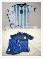 Customize!2014 Argentina kids / boy soccer jerseys(shirts+shorts) , Argentina 2014 jersey for kids, Embroidery logo