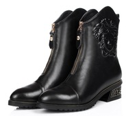 Luxury&Noble Women's Ankle Boots Euro Brand Winter Womens Genuine Leather Boots Plus Size 34-41 Flats Heels Shoes Women Boots