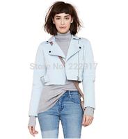 New 2014 Autumn Street Space Cotton Short Jackets Women Coat Llapel Buckle Lloop Motorcycle Jacket Cardigans Blaser haoduoyi