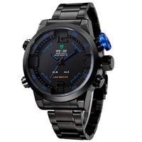 Men Sports Military Watches WEIDE Full Steel Watch Diver Quartz Multi-function LED Display Men's Wristwatch (blue)