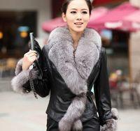 HOT SALE !2014 Winter New Products Female Fur Coat Slim Full Sleeve Leather Jackets Blazer Women Fox Fur Outerwear