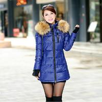 2014 Winter Jacket Women Thickening Slim Medium-long Down Jacket Elegant Luxury Large Fur Collar Winter Coat Women Parkas JC056