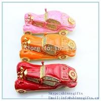 Classic  Car Handmade Jeweled Metal & Enamel Trinket Box