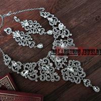 Gorgeous Bridal Rhinestone Crystal Prom Wedding Necklace Earring Set Free Shipping
