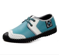 New arrival 2014 top quality brand breathable fashionable shoes men flat shoes genuine leather sneakers hot sale CE029