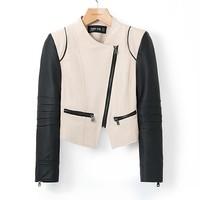 2014 Autumn&Winter Women Jacket Coat Turn-down Collor Patchwork Leather Sleeves zipper Coat