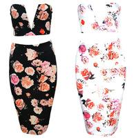 2014 Women Summer 2 Piece Bandage Dress Flowers Print Evening Sexy Club Dress Strapless Bodycon Slim Dress