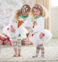 Retail!2014 new Christmas 2pc/set cotton white dress New Year princess Elk clothing set