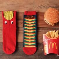 Novelty French Fries & Hamburger Pattern 100% Cotton Creative Socks Women's Socks Couple Socks GG1