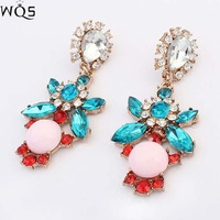 New 2014 stud earrings trend fashion shourouk earring green acrylic statement Earrings for women jewelry Factory Price