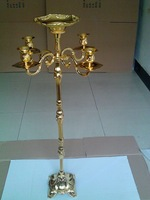 New arrival gold finish floor candelabra 85cm metal candle holder, gold color candleholder with flower bowl,candlestick