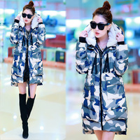 2014 Korean Camouflage color feather cotton In the long section of large code cotton padded jacket thickened female winter coats