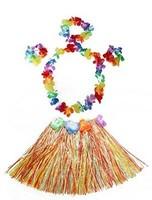 Fancy Hawaiian Grass Skirt Flower Hula Lei Garland Dress Costume For Kids Party 5 pcs set